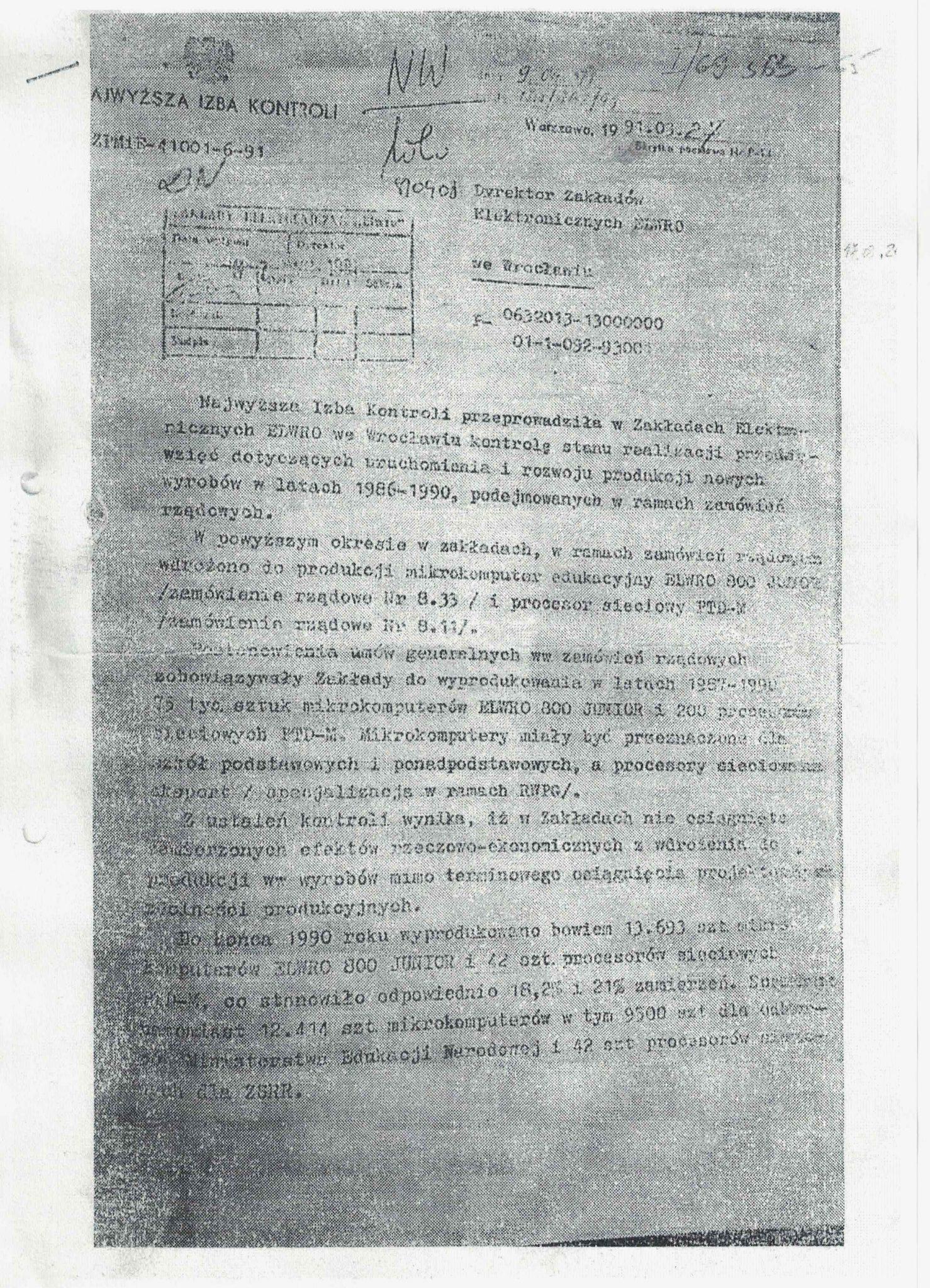 Dokument Naczelnej Izby Kontroli potwierdzający ilość wyprodukowanych mikrokomputerów ELWRO 800 Junior