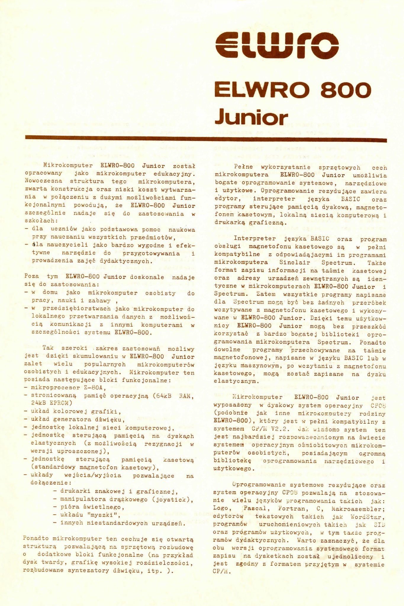 Prospekt ELWRO 800 Junior Awers