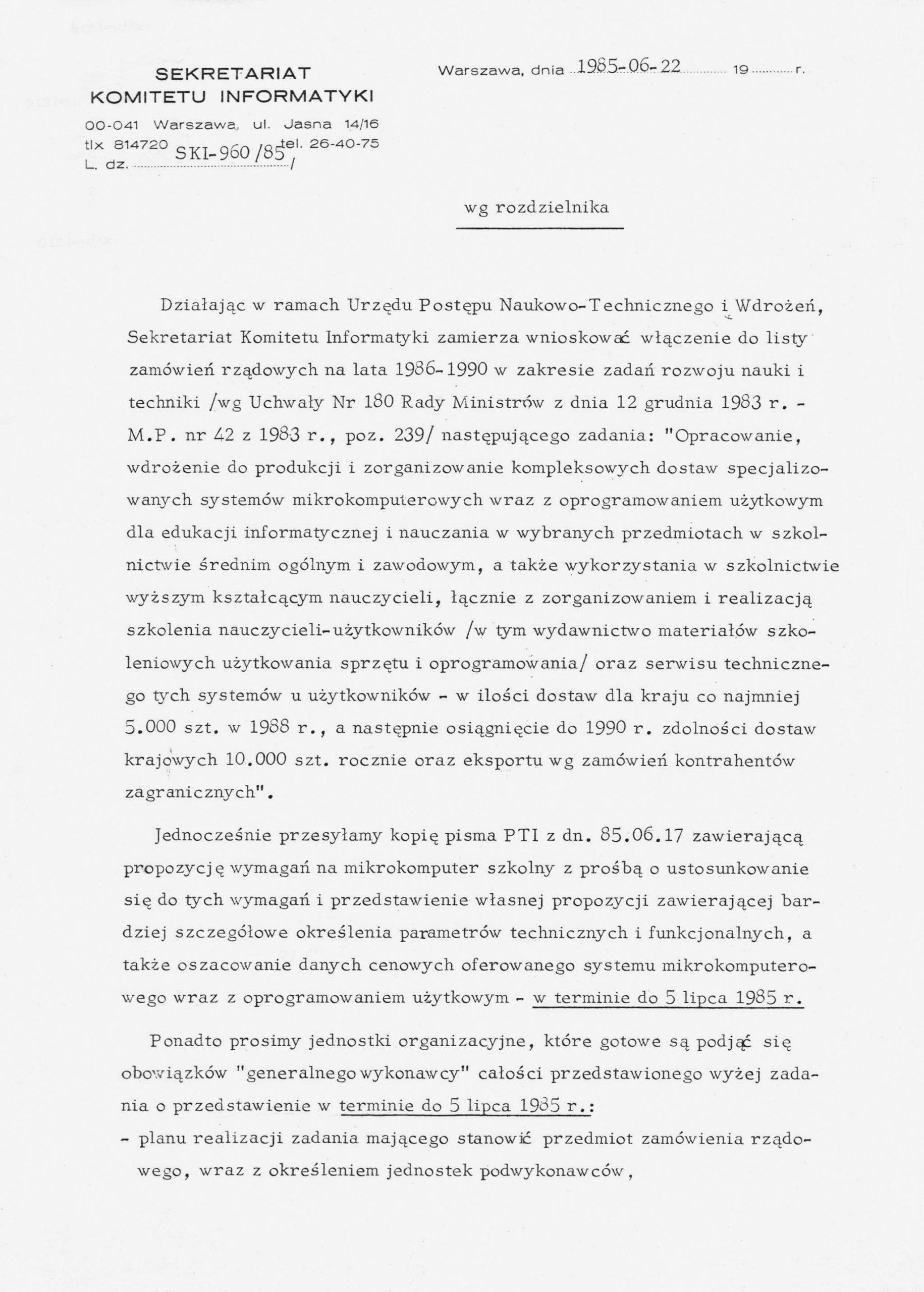 Pismo Sekretariatu Komitetu Informatyki zlecające opracowanie iwdrożenie doprodukcji mikrokomputera szkolnego