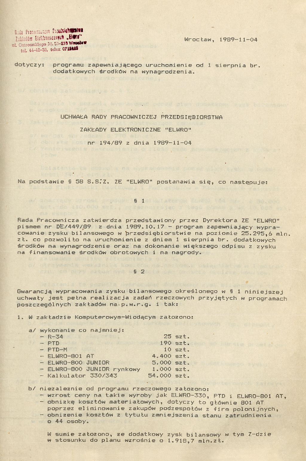 Elwro uchwala zdnia 4 listopada 1989 Elwro 801AT polskiekomputerypl
